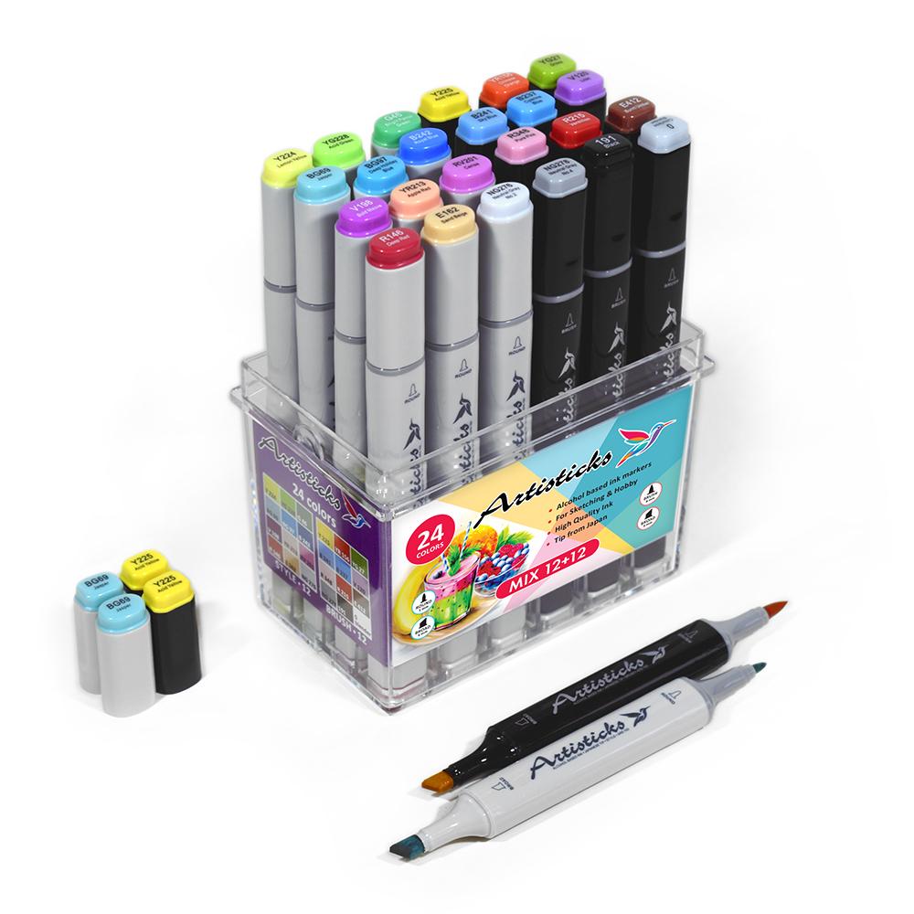 Набор маркеров для скетчинга Artisticks Brush + Style MIX, BOX 24 цвета, наконечники 3 видов