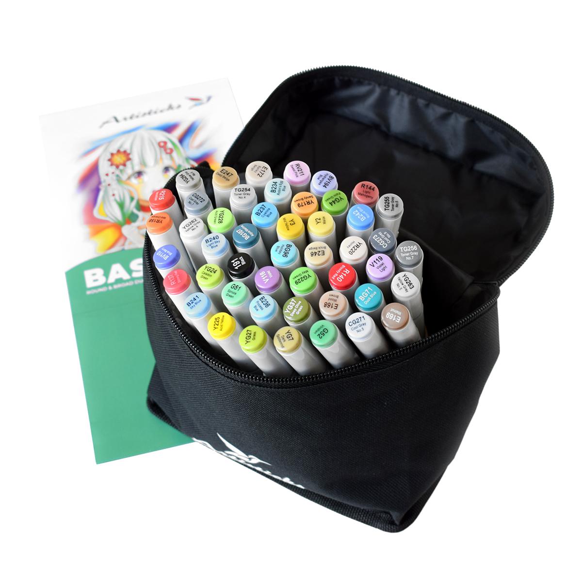 Профессиональные художественные маркеры для скетчинга и рисования Artisticks Basic 101bag, 48 цветов, 2-сторонние, 1-6 мм