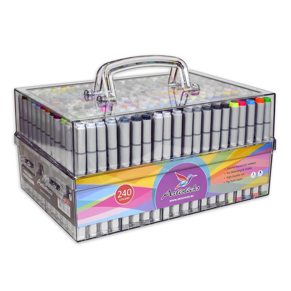 Подарочный набор художественных маркеров для скетчинга Artisticks Style PREMIUM Box 240 цветов, 2-сторонние, 1-6 мм