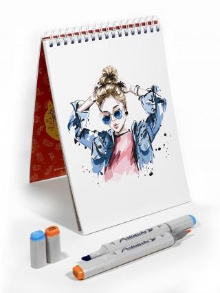 Профессиональные художественные маркеры для скетчинга и рисования Artisticks Style GREY, 24 цвета, 2-сторонние, 1-6 мм