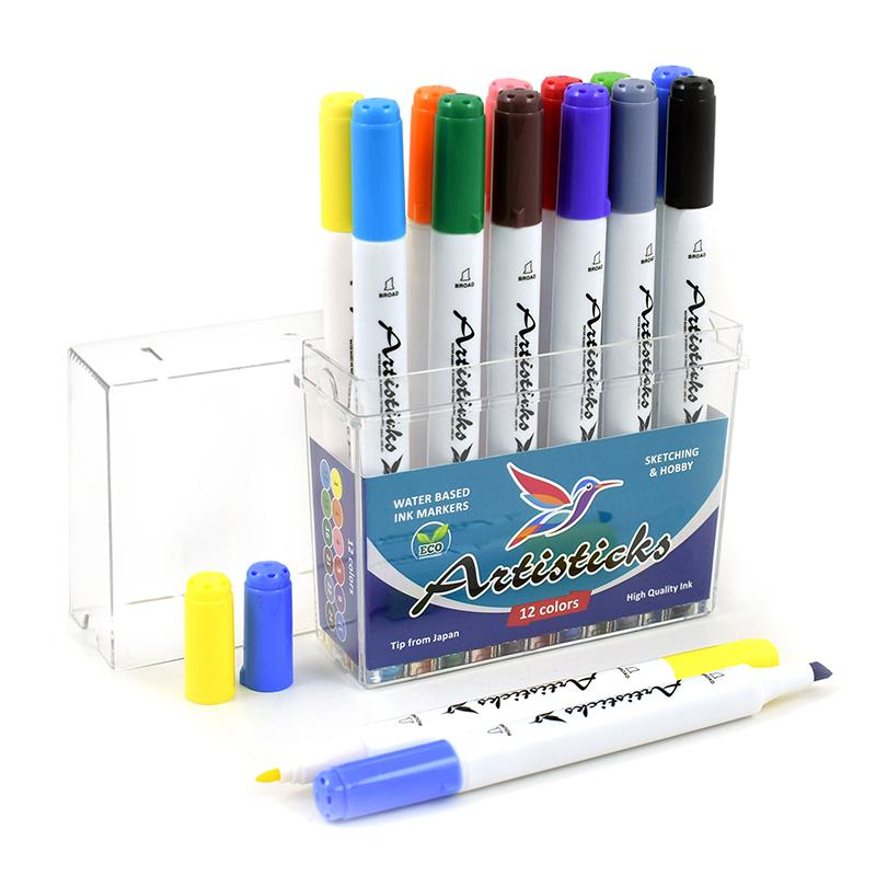 Профессиональные художественные маркеры для скетчинга на водной основе Artisticks AQUA 201 Box, 12 цветов, двусторонние, 1-6мм