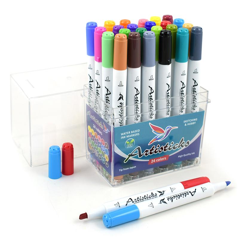 Профессиональные художественные маркеры для скетчинга на водной основе Artisticks AQUA 201 Box, 24 цвета, двусторонние, 1-6мм