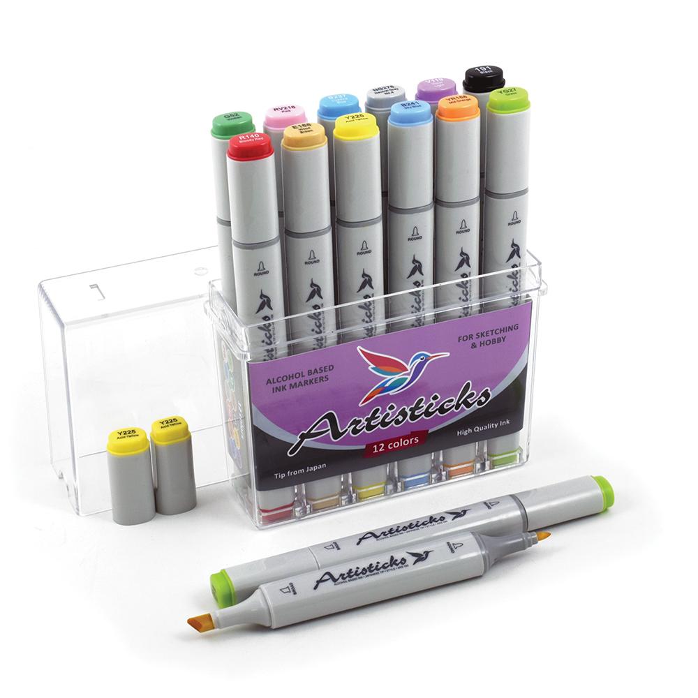 Профессиональные художественные маркеры для скетчинга и рисования  Artisticks Style 100, 12 цветов, 2-сторонние, 1-6 мм