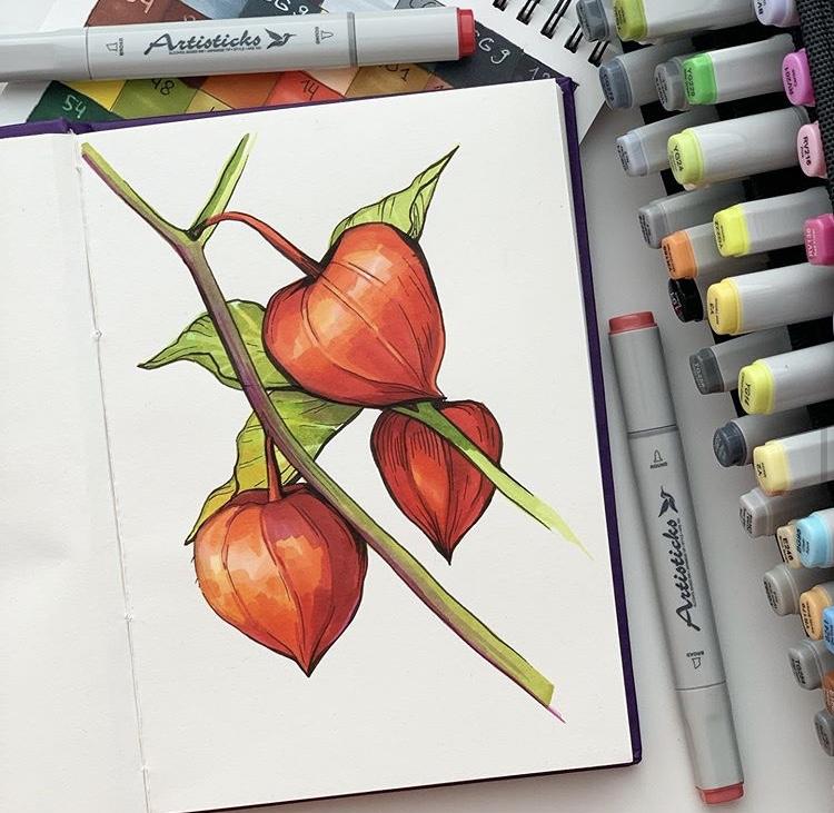 Профессиональные художественные маркеры для скетчинга и рисования Artisticks Style ARCHITECTURE, 24 цвета, 2-сторонние, 1-6 мм