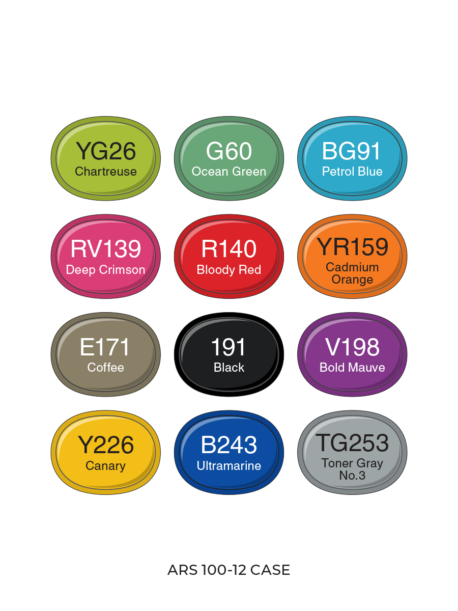 Набор маркеров для скетчинга Artisticks Style в сумке-органайзере, CASE 12 цветов