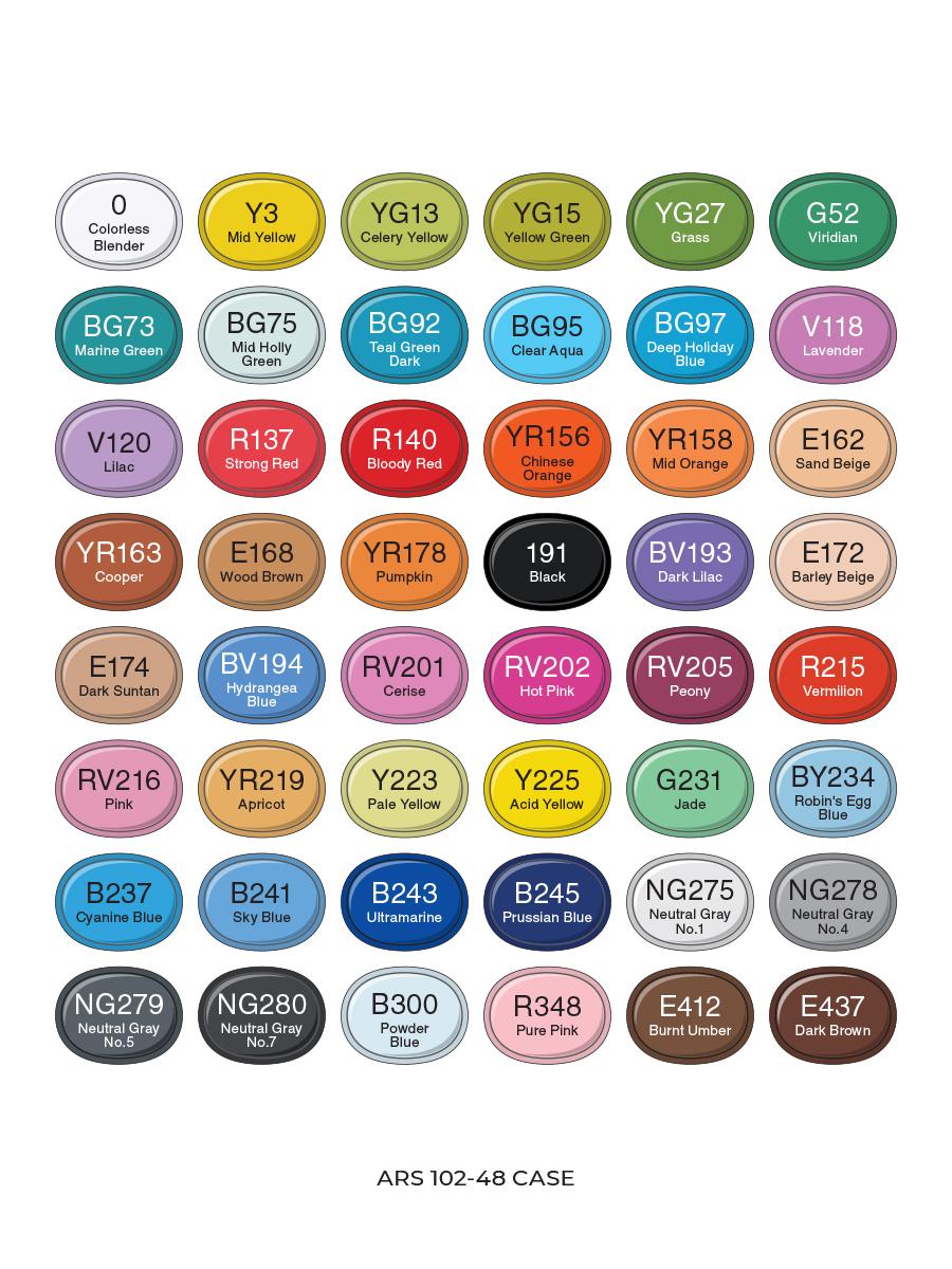 Набор профессиональных маркеров для скетчинга ARTISTICKS BRUSH 48 цветов, двусторонние, с наконечником кистью