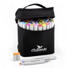 Набор спиртовых маркеров для рисования Artisticks ARS-100-84, 84 цвета, 2-сторонние, 1-6 мм