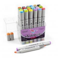 Профессиональные художественные маркеры для скетчинга и рисования  Artisticks Style 100, 24 цвета, 2-сторонние, 1-6 мм
