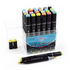 Профессиональные художественные маркеры для скетчинга и рисования Artisticks Brush 102, 24 цвета, 2-сторонние, 1-6 мм