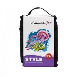 Профессиональные художественные маркеры для скетчинга и рисования  Artisticks Style 100bag, 24 цвета, 2-сторонние, 1-6 мм