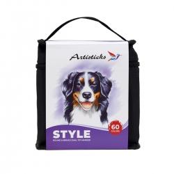Профессиональные художественные маркеры для скетчинга и рисования  Artisticks Style 100bag, 60 цветов, 2-сторонние, 1-6 мм + блендер в подарок!