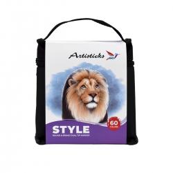Профессиональные маркеры для скетчинга и рисования  Artisticks Style 100bag, 60 цветов, 2-сторонние, 1-6 мм + черный маркер в подарок!