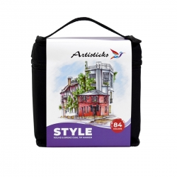 Профессиональные художественные маркеры для скетчинга и рисования Artisticks ARS-100-84, 84 цвета, 2-сторонние, 1-6 мм