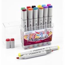 Набор спиртовых маркеров для рисования Artisticks Style BRIGHT, 12 цветов, 2-сторонние, 1-6 мм