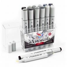 Набор спиртовых маркеров для рисования Artisticks Style GREY, 12 серых цветов, 2-сторонние, 1-6 мм