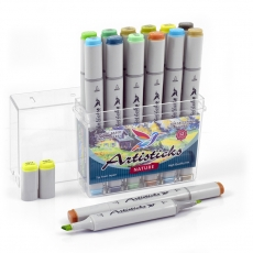 Профессиональные художественные маркеры для скетчинга и рисования Artisticks Style NATURE, 12 цветов, 2-сторонние, 1-6 мм