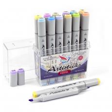 Набор спиртовых маркеров для рисования Artisticks Style PASTEL, 12 цветов, 2-сторонние, 1-6 мм