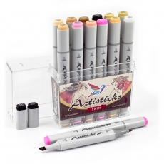 Набор спиртовых маркеров для рисования Artisticks Style SKIN, 12 цветов, 2-сторонние, 1-6 мм