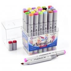 Профессиональные художественные маркеры для скетчинга и рисования Artisticks FASHION, 24 цвета, 2-сторонние, 1-6 мм