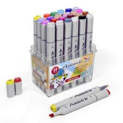 Профессиональные художественные маркеры для скетчинга и рисования Artisticks Style CREATIVE, 24 цвета, 2-сторонние, 1-6 мм