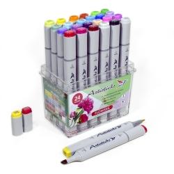 Профессиональные художественные маркеры для скетчинга и рисования Artisticks Style FLOWERS, 24 цвета, 2-сторонние, 1-6 мм