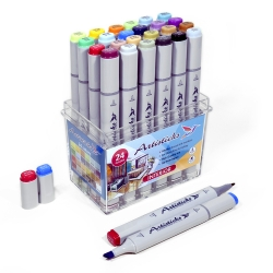 Профессиональные художественные маркеры для скетчинга и рисования Artisticks Style INTERIOR, 24 цвета, 2-сторонние, 1-6 мм