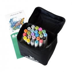 Профессиональные художественные маркеры для скетчинга и рисования Artisticks Basic 101bag, 24 цвета, 2-сторонние, 1-6 мм