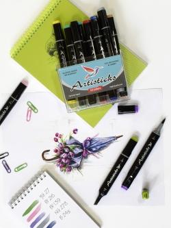 Художественный маркер-блендер (размывка) Artisticks BRUSH двусторонний с наконечниками кисть и лопатка, 1-6 мм