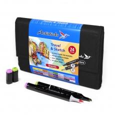Набор профессиональных маркеров для скетчинга ARTISTICKS BRUSH в сумке-органайзере, CASE 24 цвета