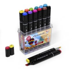 Профессиональные художественные маркеры для скетчинга Artisticks Brush Bright 12 цветов, двусторонние с кистью