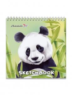 Скетчбук ARTISTICKS Panda формат B5, 180х180 мм, 200 г/м2, 40 листов,твёрдая подложка, гребень