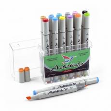Набор спиртовых маркеров для рисования Artisticks Basic 101, 12 цветов, 2-сторонние, 1-6 мм