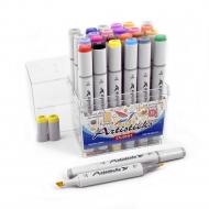 Профессиональные художественные маркеры для скетчинга и рисования Artisticks STUDENT, 24 цвета, 2-сторонние, 1-6 мм