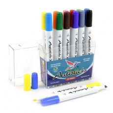 Набор художественных маркеров на водной основе Artisticks AQUA 201 Box, 12 цветов, двусторонние, 1-6мм