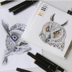 Профессиональные художественные маркеры для скетчинга и рисования Artisticks Style GREY, 12 серых цветов, 2-сторонние, 1-6 мм