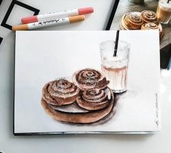 Профессиональные художественные маркеры для скетчинга и рисования Artisticks Style FOOD, 24 цвета, 2-сторонние, 1-6 мм