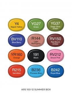Профессиональные художественные маркеры для скетчинга и рисования Artisticks Style SUMMER, 12 цветов, 2-сторонние, 1-6 мм