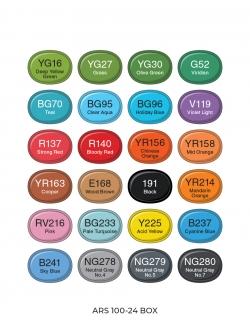 Профессиональные художественные маркеры для скетчинга и рисования Artisticks Basic 101, 24 цвета, 2-сторонние, 1-6 мм