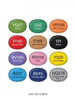 Профессиональные художественные маркеры для скетчинга Artisticks Brush 102, 12 цветов, 2-сторонние, 1-6 мм