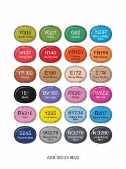 Профессиональные художественные маркеры для скетчинга и рисования Artisticks Brush 102bag, 24 цвета, 2-сторонние, 1-6 мм